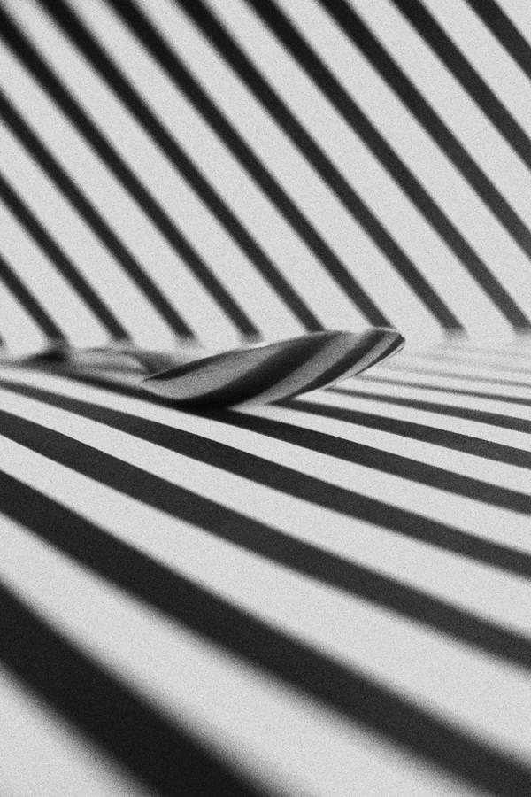 Spoon On A Surface With Black And White Stripes 3383956