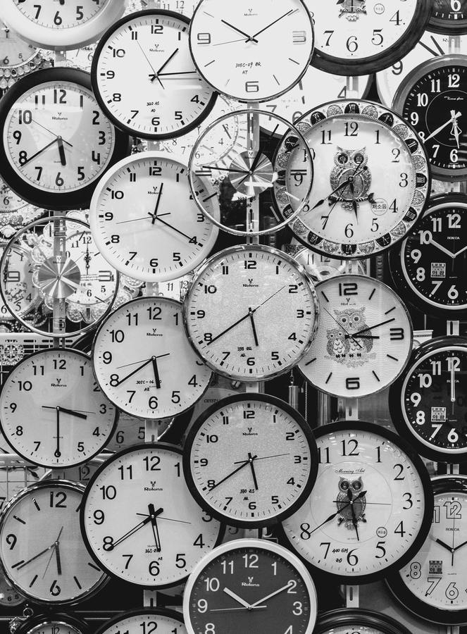 Black And White Photo Of Clocks 707676